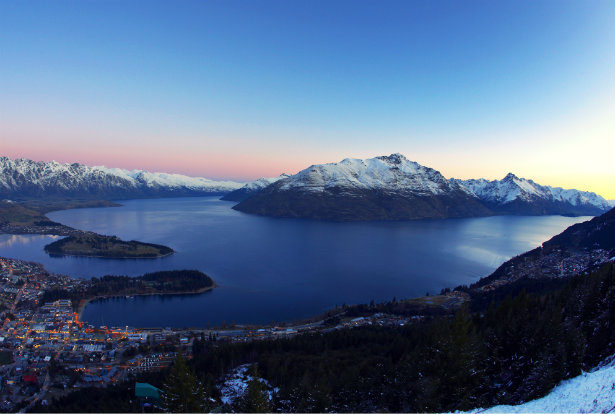 Queenstown at dusk in winter